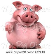 Swine Clipart of 3d Chubby Pig Giving a Thumb Down, on a White Background by Julos