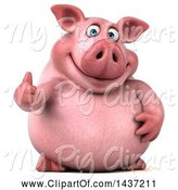 Swine Clipart of 3d Chubby Pig Giving a Thumb Up, on a White Background by Julos