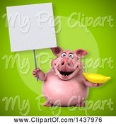 Swine Clipart of 3d Chubby Pig Holding a Banana by Julos
