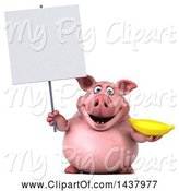 Swine Clipart of 3d Chubby Pig Holding a Banana, on a White Background by Julos