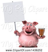 Swine Clipart of 3d Chubby Pig Holding a Beer, on a White Background by Julos