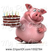 Swine Clipart of 3d Chubby Pig Holding a Birthday Cake, on a White Background by Julos