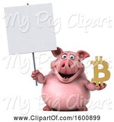 Swine Clipart of 3d Chubby Pig Holding a Bitcoin Symbol, on a White Background by Julos