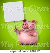Swine Clipart of 3d Chubby Pig Holding a Blank Sign by Julos