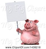 Swine Clipart of 3d Chubby Pig Holding a Blank Sign, on a White Background by Julos