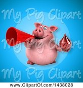 Swine Clipart of 3d Chubby Pig Holding a Blood Drop by Julos