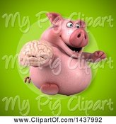 Swine Clipart of 3d Chubby Pig Holding a Brain by Julos