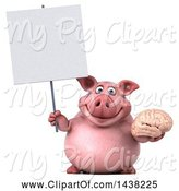 Swine Clipart of 3d Chubby Pig Holding a Brain, on a White Background by Julos