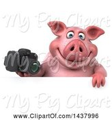 Swine Clipart of 3d Chubby Pig Holding a Camera, on a White Background by Julos
