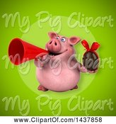 Swine Clipart of 3d Chubby Pig Holding a Chocolate Egg by Julos