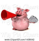 Swine Clipart of 3d Chubby Pig Holding a Cloud, on a White Background by Julos