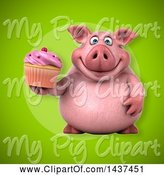 Swine Clipart of 3d Chubby Pig Holding a Cupcake by Julos