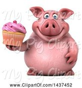 Swine Clipart of 3d Chubby Pig Holding a Cupcake, on a White Background by Julos