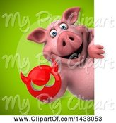 Swine Clipart of 3d Chubby Pig Holding a Devil Head by Julos