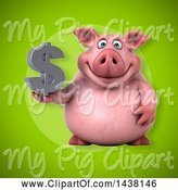 Swine Clipart of 3d Chubby Pig Holding a Dollar Symbol by Julos