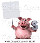 Swine Clipart of 3d Chubby Pig Holding a Dollar Symbol, on a White Background by Julos