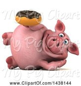 Swine Clipart of 3d Chubby Pig Holding a Donut, on a White Background by Julos