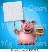 Swine Clipart of 3d Chubby Pig Holding a Double Burger by Julos