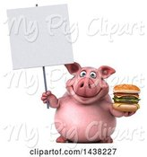 Swine Clipart of 3d Chubby Pig Holding a Double Burger, on a White Background by Julos
