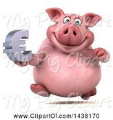 Swine Clipart of 3d Chubby Pig Holding a Euro Symbol, on a White Background by Julos