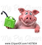 Swine Clipart of 3d Chubby Pig Holding a Gas Can, on a White Background by Julos