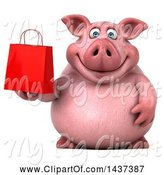 Swine Clipart of 3d Chubby Pig Holding a Gift or Shopping Bag, on a White Background by Julos