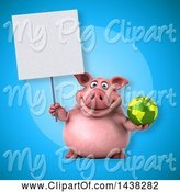 Swine Clipart of 3d Chubby Pig Holding a Globe by Julos