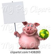 Swine Clipart of 3d Chubby Pig Holding a Globe, on a White Background by Julos
