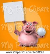 Swine Clipart of 3d Chubby Pig Holding a Golf Ball by Julos