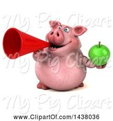 Swine Clipart of 3d Chubby Pig Holding a Green Apple, on a White Background by Julos