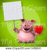 Swine Clipart of 3d Chubby Pig Holding a Heart by Julos