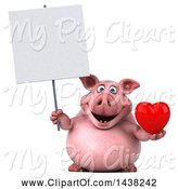 Swine Clipart of 3d Chubby Pig Holding a Heart, on a White Background by Julos