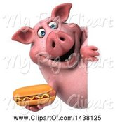 Swine Clipart of 3d Chubby Pig Holding a Hot Dog, on a White Background by Julos