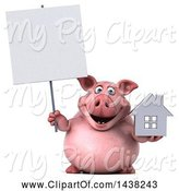Swine Clipart of 3d Chubby Pig Holding a House, on a White Background by Julos