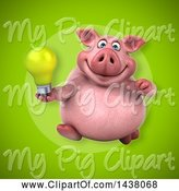 Swine Clipart of 3d Chubby Pig Holding a Light Bulb by Julos