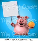 Swine Clipart of 3d Chubby Pig Holding a Navel Orange by Julos