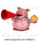 Swine Clipart of 3d Chubby Pig Holding a Navel Orange, on a White Background by Julos