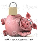 Swine Clipart of 3d Chubby Pig Holding a Padlock, on a White Background by Julos