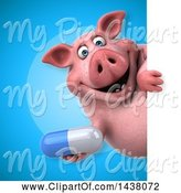 Swine Clipart of 3d Chubby Pig Holding a Pill by Julos