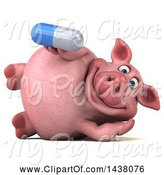 Swine Clipart of 3d Chubby Pig Holding a Pill, on a White Background by Julos