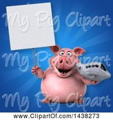 Swine Clipart of 3d Chubby Pig Holding a Plane by Julos