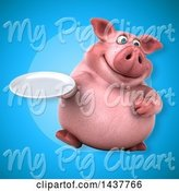 Swine Clipart of 3d Chubby Pig Holding a Plate by Julos