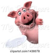 Swine Clipart of 3d Chubby Pig Holding a Plate, on a White Background by Julos