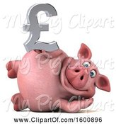 Swine Clipart of 3d Chubby Pig Holding a Pound Currency Symbol, on a White Background by Julos