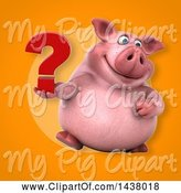 Swine Clipart of 3d Chubby Pig Holding a Question Mark by Julos