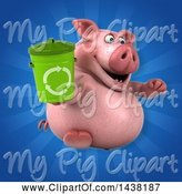 Swine Clipart of 3d Chubby Pig Holding a Recycle Bin by Julos