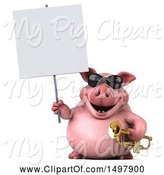 Swine Clipart of 3d Chubby Pig Holding a Sign and Trumpet, on a White Background by Julos