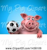 Swine Clipart of 3d Chubby Pig Holding a Soccer Ball by Julos