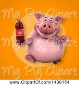 Swine Clipart of 3d Chubby Pig Holding a Soda Bottle by Julos