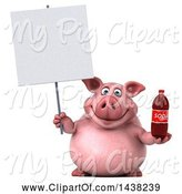 Swine Clipart of 3d Chubby Pig Holding a Soda Bottle, on a White Background by Julos